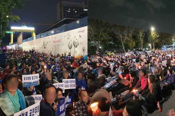 지난 23일 서울 서초구 서울중앙지방법원 주변에서 정경심 동양대 교수에 대한 구속영장 발부(왼쪽)와 기각을 촉구하는 대규모 집회가 열렸다. 남궁민 기자