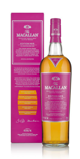 맥캘란 에디션 넘버5는 세계적인 팬톤 컬러 연구소가 맥캘란의 내추럴 컬러 스펙트럼에서 영감을 받아 전 세계에서 처음으로 '맥캘란 에디션 퍼플' 컬러를 개발해 제품 라벨에 적용했다. [사진 에드링턴코리아]