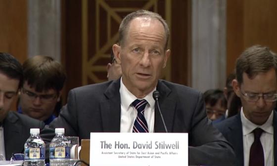 """데이비드 스틸웰 미 국무부 동아태 차관보가 지난 9월 18일 상원 외교위에서 """"미국은 한일 갈등 해결을 위해 적극적으로 관여하고 있다""""고 말했다.[상원 외교위]"""