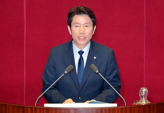 이인영 더불어민주당 원내대표가 지난 7월3일 국회에서 교섭단체 대표 연설을 하고 있다. 임현동 기자