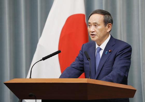 일본 정부 대변인인 스가 요시히데 관방장관. [연합뉴스]