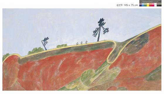 김선두, 느린 풍경_봄길, 145.0x75.0cm.장지에 분채, 2019. [사진 갤러리 화이트원]