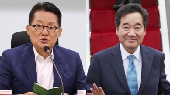 박지원 대안신당 의원(왼쪽)과 이낙연 국무총리. [연합뉴스]
