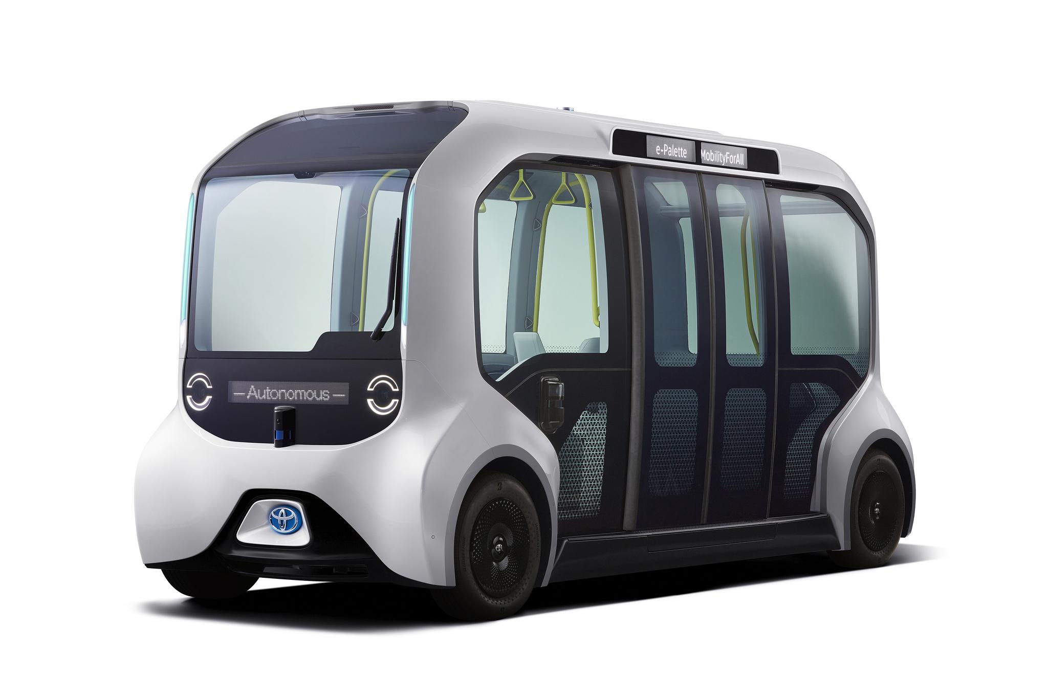 e-팔레트는 내년 도쿄 올림픽에 선보일 자율주행 셔틀버스다. 운전자와 조작 패널이 없는 레벨4 수준의 자율주행이 가능하다. [사진 도요타]