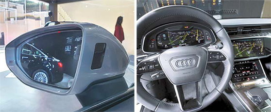 아우디 신형 A6는 차량접근경고등을 사이드미러 안쪽(왼쪽)에 배치해 운전자가 쉽게 볼 수 있게 했다. 대형화면 3개로 운전자가 주행정보를 한눈에 알 수 있다. 김효성 기자, [사진 아우디코리아]