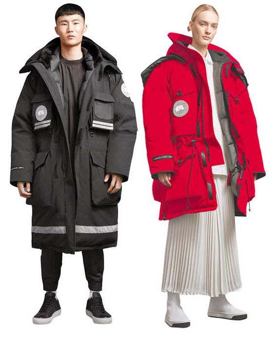 준지와 캐나다구스 컬래버레이션 상품이 최근 국내에 출시되자마자 패션시장을 달구고 있다. 스노 만트라 파카(왼쪽)와 엑스페디션 파카. [사진 삼성물산]