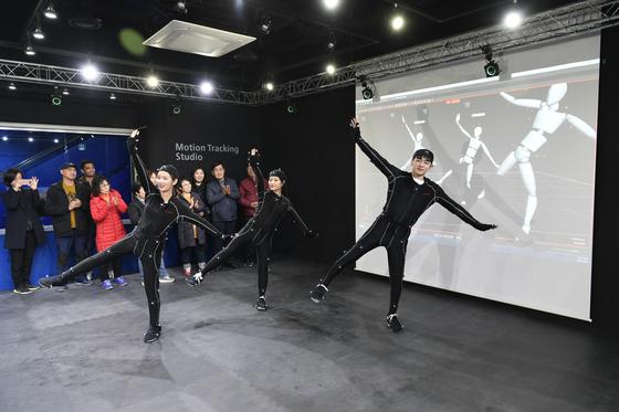 한성대 상상파크 프레스데이 행사에서 모션 트래킹(움직임을 디지털 형태로 기록) 시연.
