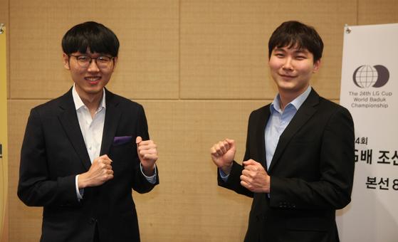LG배 결승에 진출한 신진서 9단(왼쪽)과 박정환 9단. [사진 사이버오로]