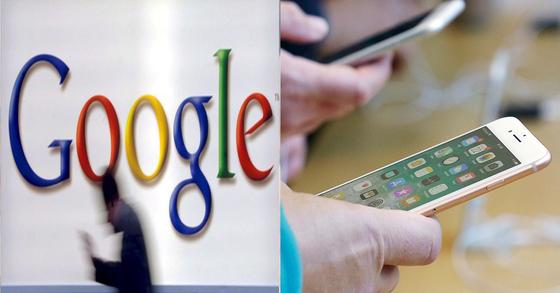 구글 로고(왼쪽)과 아이폰 사용 이미지(오른쪽, 기사 내용과 관계 없음) [EPA=연합뉴스, 중앙포토]