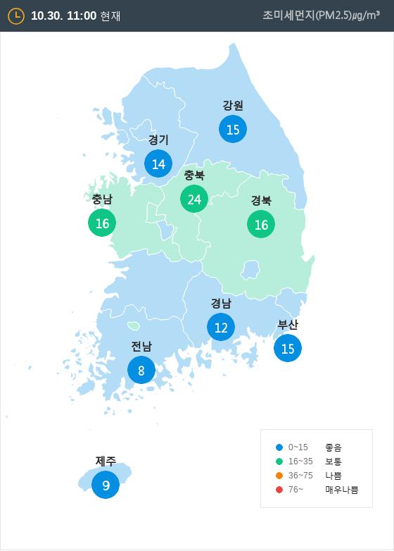 [10월 30일 PM2.5]  오전 11시 전국 초미세먼지 현황