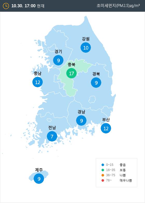 [10월 30일 PM2.5]  오후 5시 전국 초미세먼지 현황