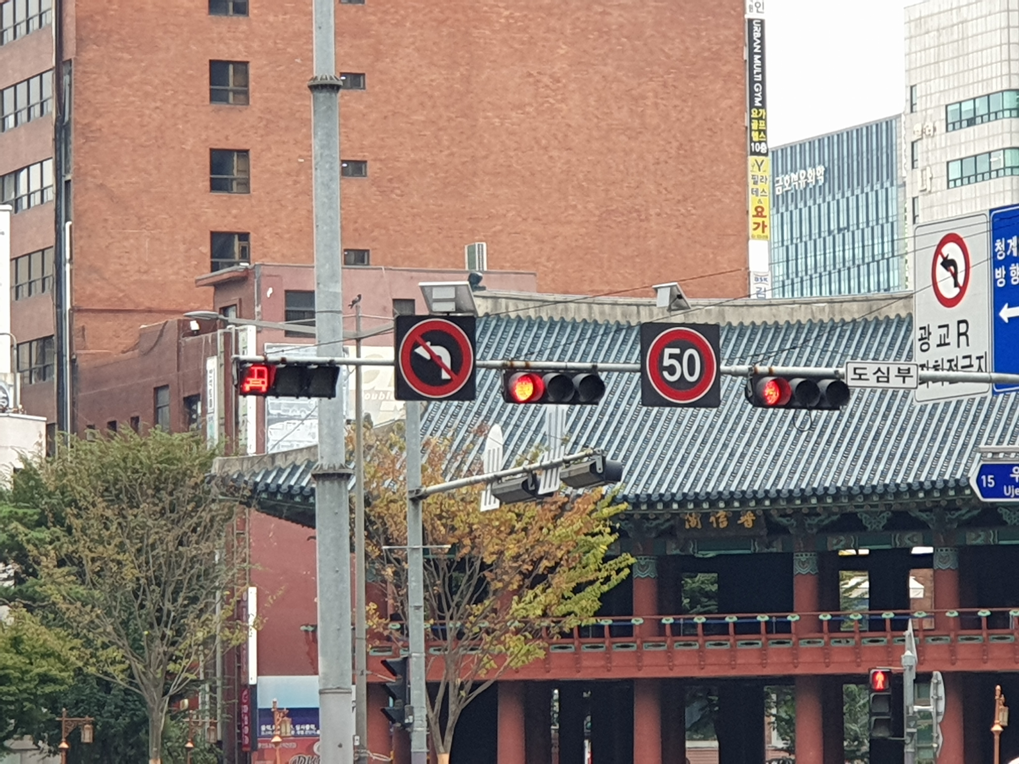 서울 종로 보신각 앞 사거리에 제한속도가 시속 50km임을 알리는 표시판이 설치돼 있다.[강갑생 기자]