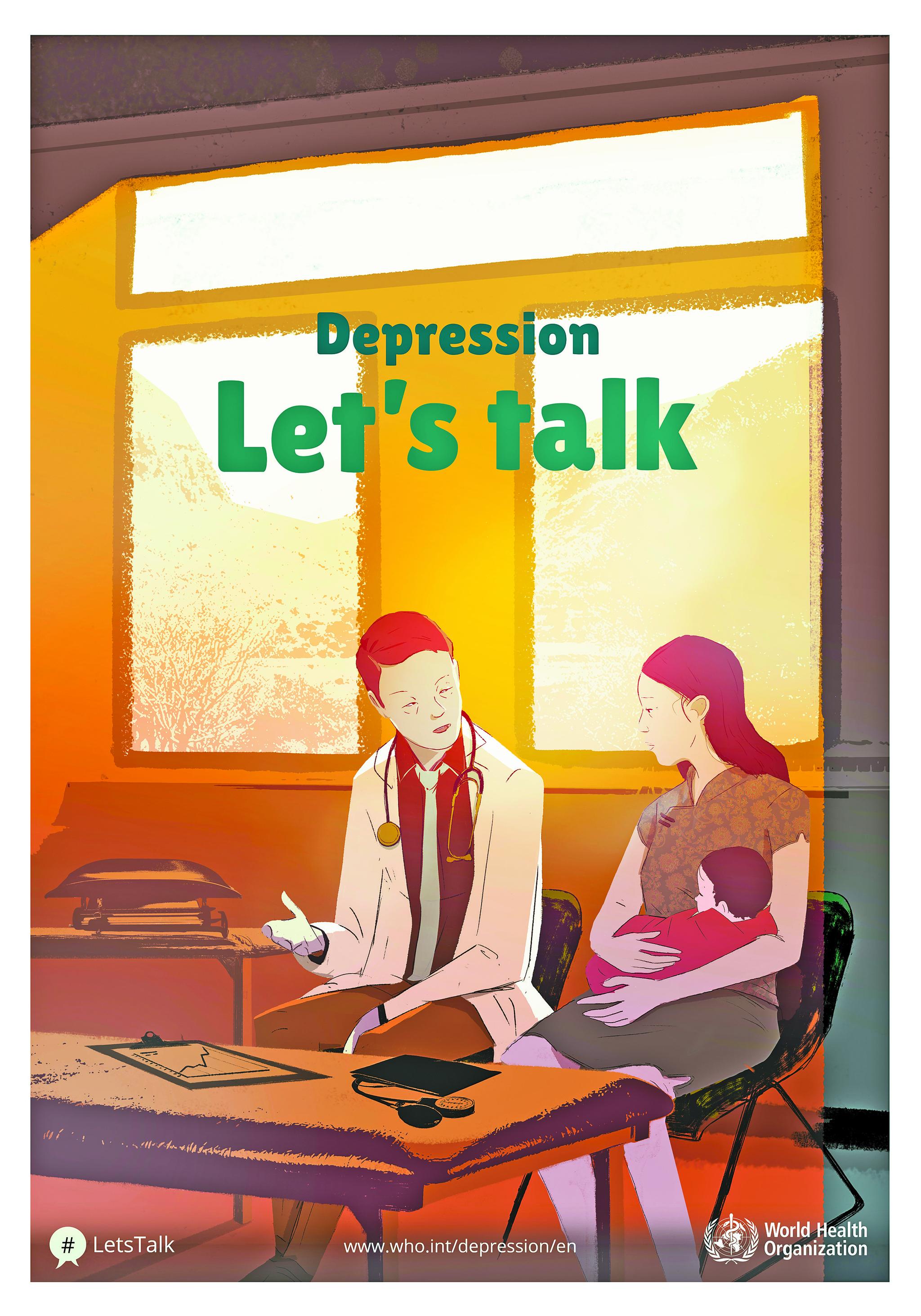 WHO에서 2017년 연간 캠페인으로 진행한 '우울증 : 렛츠 토크' 포스터. [사진 WHO 홈페이지]