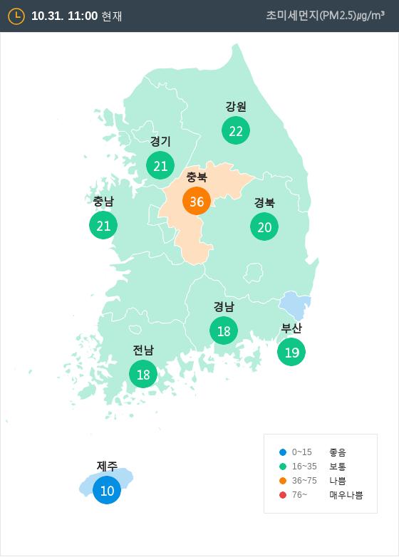 [10월 31일 PM2.5]  오전 11시 전국 초미세먼지 현황