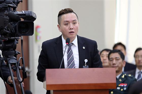 국회 국방위 국정감사에 증인 출석한 임태훈 소장. [연합뉴스]