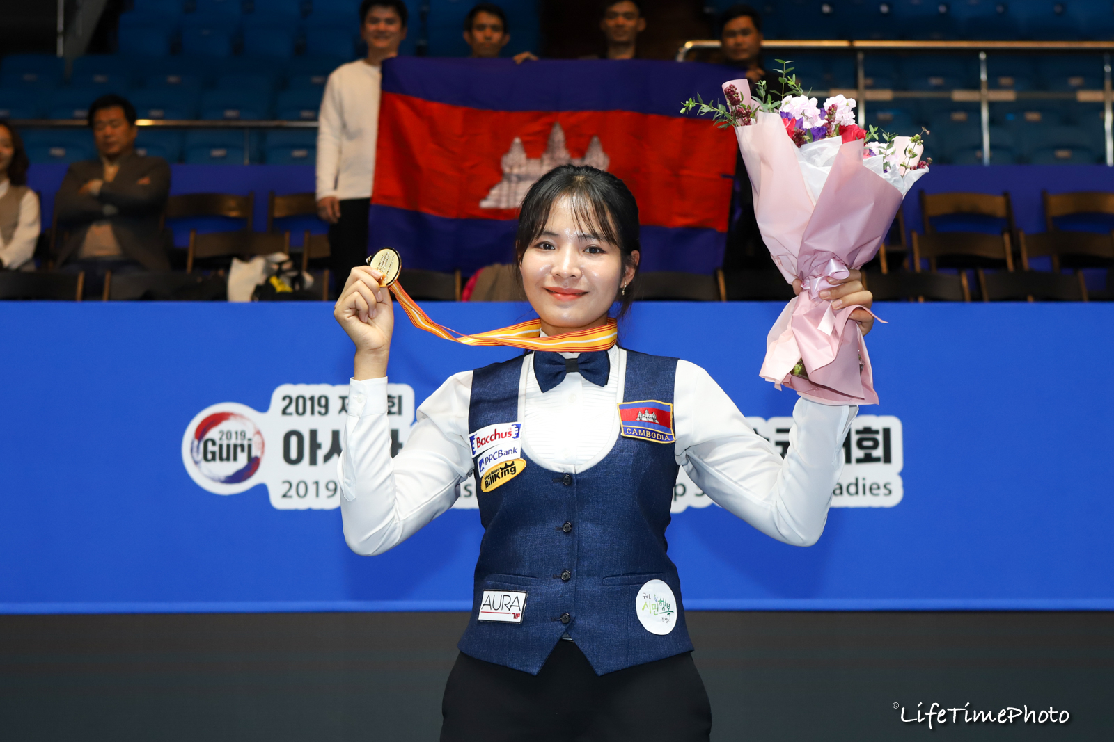 3일 아시아 3쿠션여자선수권에서 우승한 피바이. [사진 대한당구연맹]