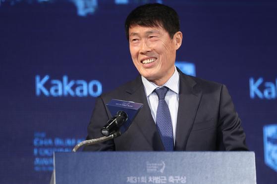 지난 2월 제31회 차범근축구상 시상식에 참석한 차범근 전 축구대표팀 감독. [연합뉴스]