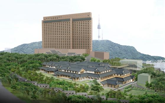 신라호텔이 장충동 부지 내 짓는 서울 1호 한옥호텔의 조감도. [사진 신라호텔]