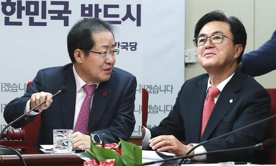 사진은 2017년 12월 28일 오전 서울 여의도 당사에서 열린 최고위원회의에서 자유한국당 김태흠 의원(오른쪽)이 발언을 마친 후 홍준표 전 대표의 말을 듣고 있다. 임현동 기자