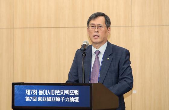 발언하는 정재훈 한국원자력산업회의 회장   (서울=연합뉴스)