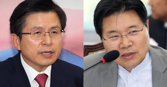 황교안 자유한국당 대표(왼쪽)와 홍문종 우리공화당 공동대표. [연합뉴스, 뉴스1]