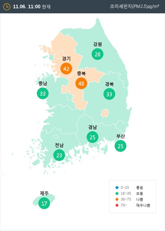 [11월 6일 PM2.5]  오전 11시 전국 초미세먼지 현황