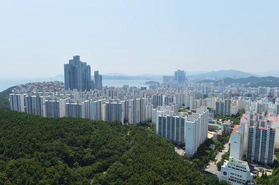 지난 4월 1일 부산의 아파트 밀집지역 [사진 부산시]