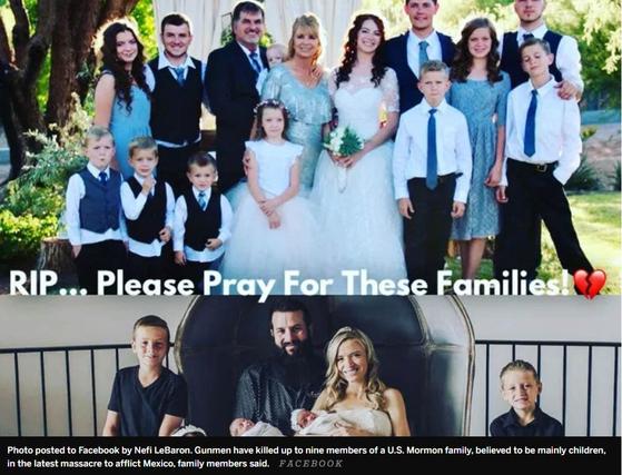 친지가 페이스북에 올린 멕시코 마약 카르텔 총격으로 희생된 미국인 가족. [페이스북=연합뉴스]