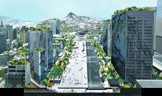 서울시가 새로운 광화문광장의 미래 청사진인 국제설계공모 최종 당선작을 발표했다. 당선작 'Deep Surface' 중 조감도. [사진 서울시]