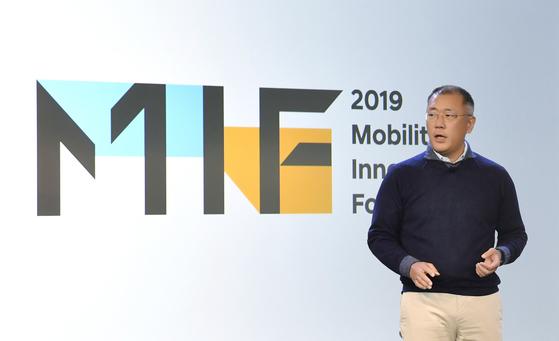 정의선 현대자동차그룹 수석부회장이 7일(현지시간) 미국 샌프란시스코에서 열린 '모빌리티 이노베이터스 포럼(MIF) 2019'에서 기조연설을 하고 있다. [사진 현대자동차그룹]