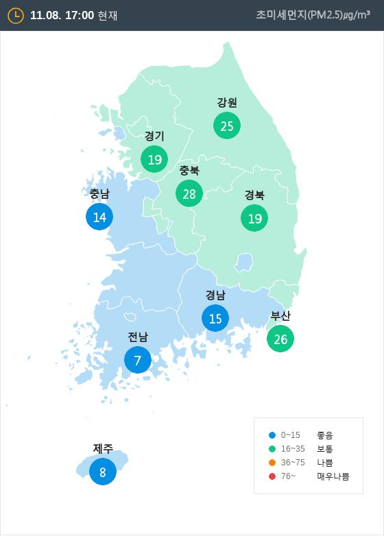 [11월 8일 PM2.5]  오후 5시 전국 초미세먼지 현황