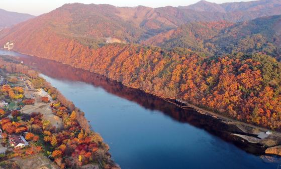입동을 하루 앞둔 7일 오후 강원 춘천시 소양강 주변에 단풍이 장관을 이루고 있다. [연합뉴스]