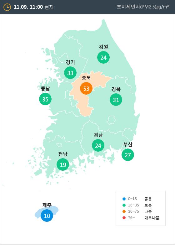 [11월 9일 PM2.5]  오전 11시 전국 초미세먼지 현황