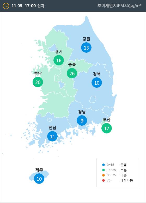 [11월 9일 PM2.5]  오후 5시 전국 초미세먼지 현황