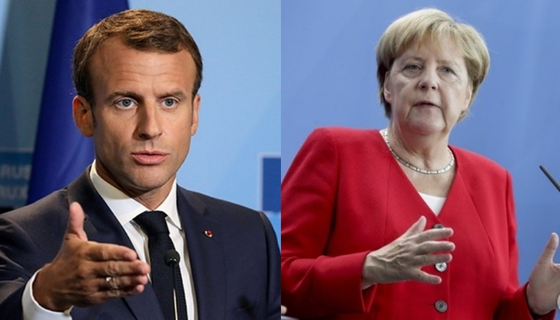 에마뉘엘 마크롱 프랑스 대통령(왼쪽)과 앙겔라 메르켈 독일 총리. [로이터=연합뉴스, AP=연합뉴스]