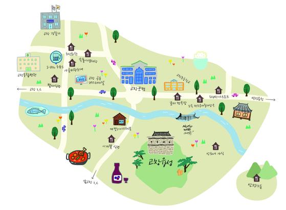 전북 고창 지역의 맛있는 식당들 위치를 표시한 '고창 백반 로드 맵'.