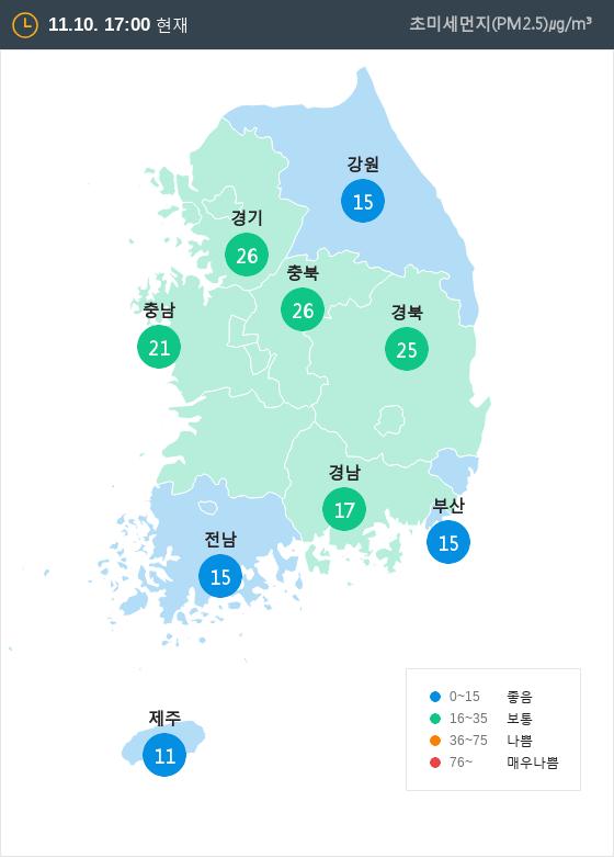 [11월 10일 PM2.5]  오후 5시 전국 초미세먼지 현황