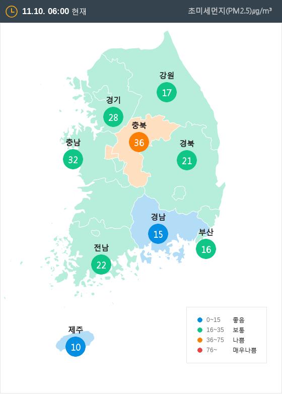 [11월 10일 PM2.5]  오전 6시 전국 초미세먼지 현황