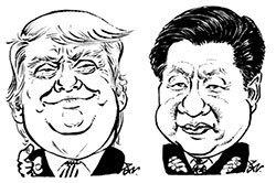 트럼프(얼굴 왼쪽) 대통령, 시진핑(오른쪽) 주석