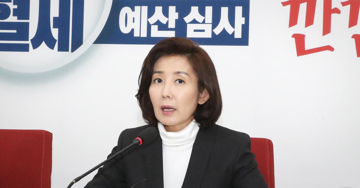 나경원 자유한국당 원내대표가 10일 오후 국회에서 열린 예산정책과 관련한 기자간담회에서 발언하고 있다. [연합뉴스]