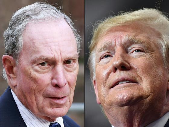 2020년 대통령 선거에 가장 늦게 뛰어든 마이클 블룸버그 전 뉴욕시장(왼쪽)과 도널드 트럼프 미국 대통령. [AFP=연합뉴스]