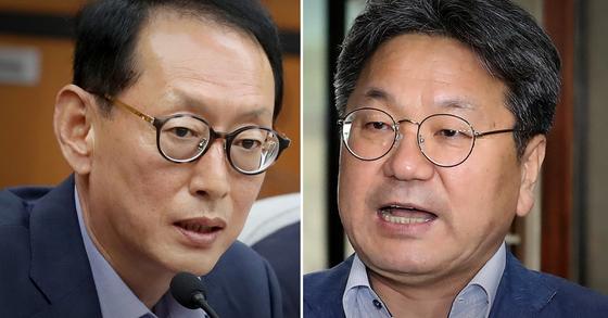강기정 대통령비서실 정무수석(오른쪽)과 김도읍 한국당 대표 비서실장. [연합뉴스·뉴스1]