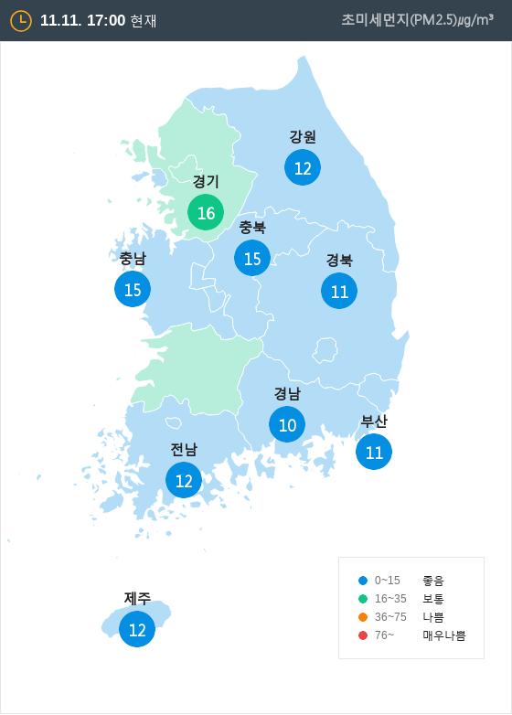 [11월 11일 PM2.5]  오후 5시 전국 초미세먼지 현황