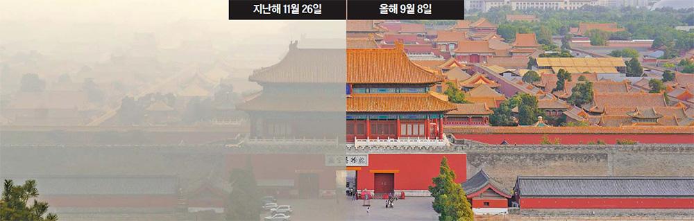 중앙일보 본지 취재팀이 베이징을 방문했던 지난해 11월 26일(왼쪽)과 올해 9월 8일 징산공원에서 내려다 본 자금성. 미세먼지 농도에 따라 시야가 확연하게 다르다. 사진 강찬수 기자, 유선욱