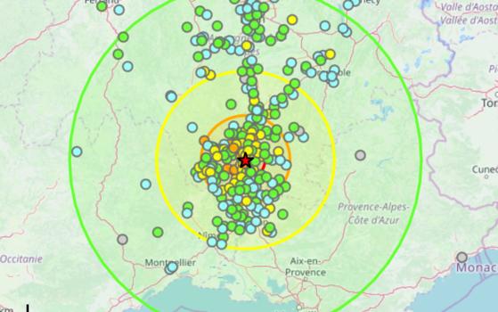 11일 오전 11시 52분 프랑스 남동부서 규모 5.4의 지진이 발생했다. [사진 프랑스 국가지진관측소 캡처]