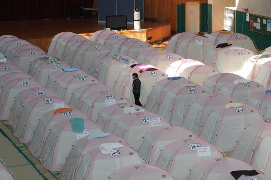 지난 1일 경북 포항시 북구 흥해읍 흥해실내체육관 내부를 가득 채우고 있는 221개의 텐트들. 2017년 11월 15일 규모 5.4의 지진이 일어난 지 2년 가까이 지났지만 여전히 92가구 208명의 이재민들이 텐트 생활을 하고 있다. 송봉근 기자