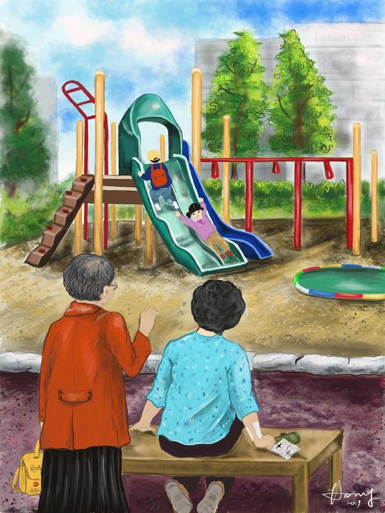 동네 놀이터에서는 손주들을 돌보는 조부모들을 흔히 만날 수 있다. 아이패드7, 아트레이지 사용. [그림 홍미옥]
