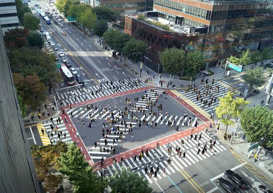 대각선 교차로가 설치된 이후 서울 종로구청 입구의 예상 모습. [그래픽 서울시]