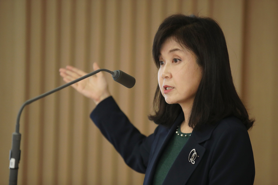 임지원 한국은행 금융통화위원이 13일 기자간담회에서 모두발언을 하고 있다. [한국은행]