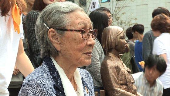 올해 1월 작고한 일본군 위안부 피해자 고(故)김복동 할머니를 기리는 다큐 '김복동' 한 장면. [사진 엣나인필름]